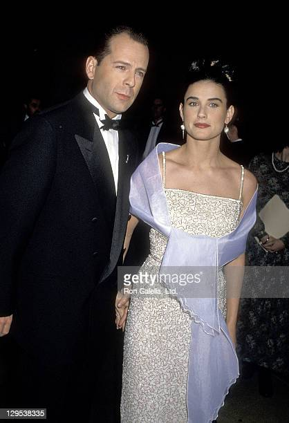 Actor Bruce Willis and actress Demi Moore attend the 47th Annual Golden Globe Awards on January 20 1990 at Beverly Hilton Hotel in Beverly Hills...