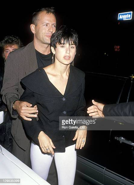 Actor Bruce Willis and actress Demi Moore attend The China Club Grand Opening Celebration on August 15 1989 at The China Club Hollywood California