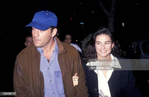 Actor Bruce Willis and actress Demi Moore attend the Hurlyburly play performance on December 1 1988 at Westwood Playhouse in Westwood California