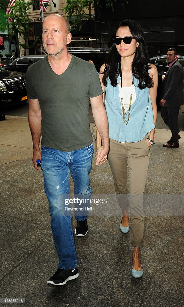 Actor Bruce Willis and Emma Heming are seen outside her hotel on May 10, 2013 in New York City.