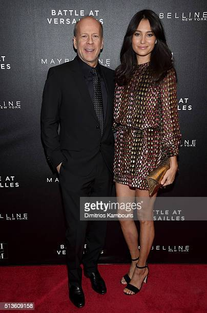 Actor Bruce Willis and Emma Heming attend Battle at Versailles New York Premiere at Paris Theater on March 3 2016 in New York City