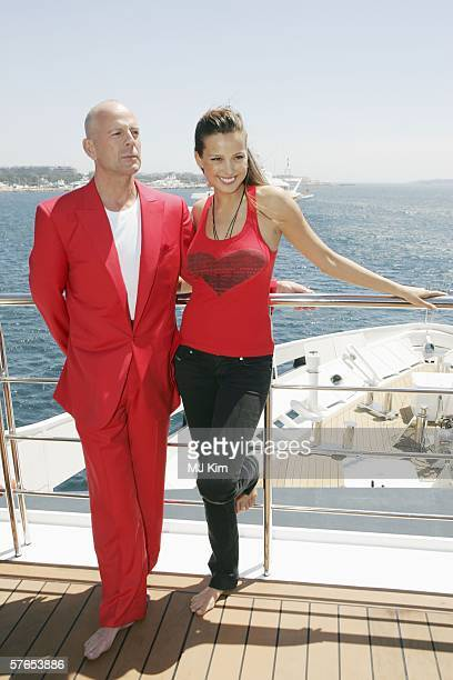 Actor Bruce Willis and model Petra Nemcova attend the Scott Henshall Hofit Golan and Petra Nemcova launch of the 'Big Red Book' at the Carlton Jetty...