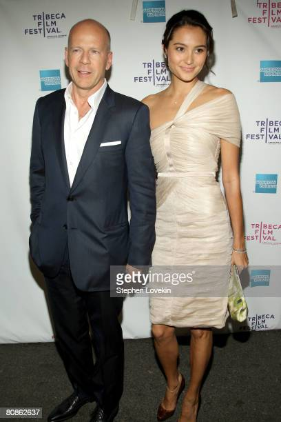 """Actor Bruce Willis and supermodel Emma Heming attend the premiere of """"From Within"""" during the 2008 Tribeca Film Festival on April 25, 2008 in New..."""