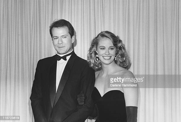 Actor Bruce Willis and US actress Cybill Shepherd, both in formal evening wear, attending the 37th annual Emmy Awards, held at the Pasadena Civic...