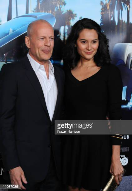 Actor Bruce Willis and wife Emma Heming arrive at the premiere of the HBO documentary His Way at Paramount Studios on March 22 2011 in Hollywood...