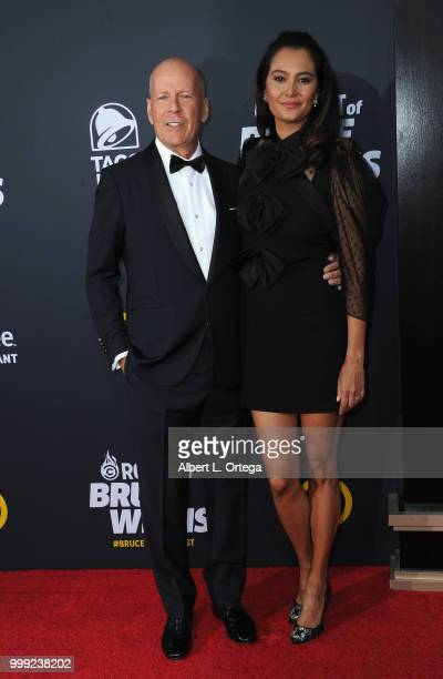 Actor Bruce Willis and wife Emma Heming arrive for the Comedy Central Roast Of Bruce Willis held at Hollywood Palladium on July 14 2018 in Los...