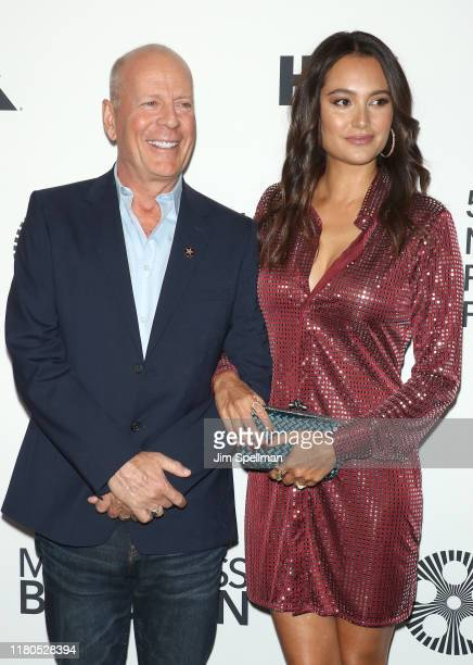 Actor Bruce Willis and wife Emma Heming Willis attend the Motherless Brooklyn premiere during the 57th New York Film Festival on October 11 2019 in...