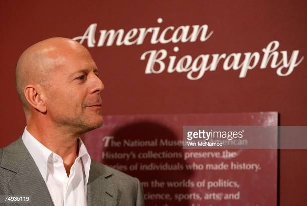 Actor Bruce Willis answers questions after donating objects from the Die Hard series of films to the Smithsonian's National Museum of American...