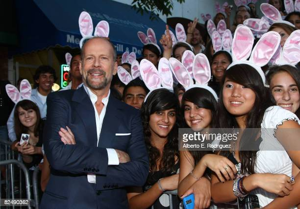 Actor Bruce Willis arrives at Columbia Pictures' premiere of 'House Bunny' held at the Mann Village Theater on August 20 2008 in Westwood California