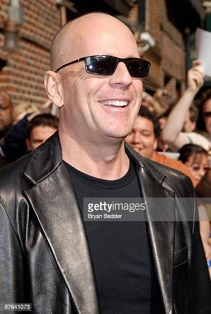 Actor Bruce Willis arrives at the Ed Sullivan Theater for a taping of the Late Show with David Letterman on May 17 2006 in New York City