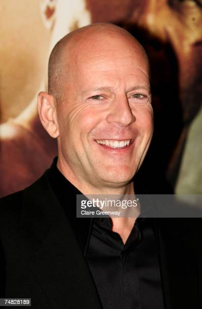 Actor Bruce Willis arrives at the UK premiere of Die Hard 40 at Empire Cinema on June 20 2007 in London England
