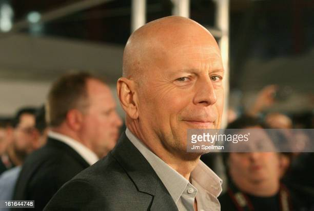 Actor Bruce Willis attends the A Good Day To Die Hard Fan Celebration at AMC Empire on February 13 2013 in New York City