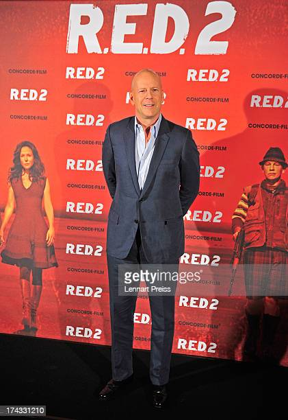 US actor Bruce Willis attends the 'RED 2' photocall at Hotel Mandarin Oriental on July 24 2013 in Munich Germany