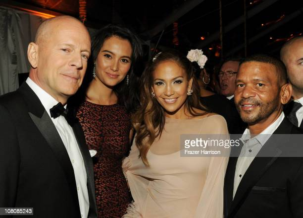 Actor Bruce Willis Emma Heming singer/actress Jennifer Lopez and Benny Medina attend Relativity Media and The Weinstein Company's 2011 Golden Globe...