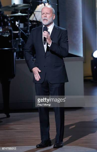 Actor Bruce Willis hosts the Gershwin Prize Honoree's Tribute Concert at DAR Constitution Hall on November 15 2017 in Washington DC