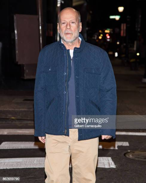 Actor Bruce Willis is seen leaving the set of 'Glass' a sequel to M Night Shyamalan's thriller Unbreakable on October 17 2017 in Philadelphia...