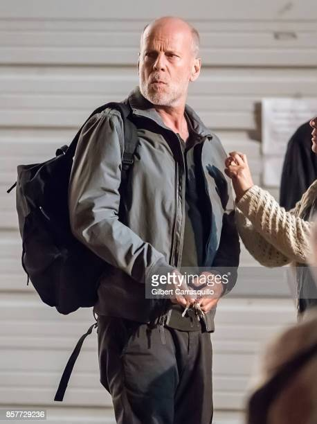 Actor Bruce Willis is seen on set of 'Glass' a sequel to M Night Shyamalan's thriller Unbreakable on October 4 2017 in Philadelphia Pennsylvania