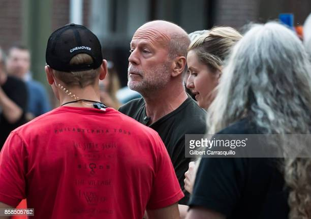 Actor Bruce Willis is seen on set of 'Glass' a sequel to M Night Shyamalan's 'Unbreakable' on October 6 2017 in Philadelphia Pennsylvania