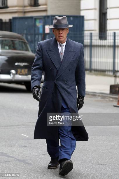 Actor Bruce Willis is seen on the set of 'Motherless Brooklyn' movie in harlem on February 6 2018 in New York City