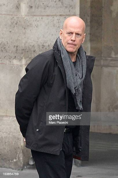 Actor Bruce Willis is sighted on the set of 'Red 2' on October 10 2012 in Paris France