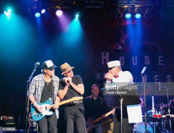 Actor Bruce Willis performing with his band Bruce Willis and the Accelerators at the House of Blues on July 10 2003 in Anaheim California