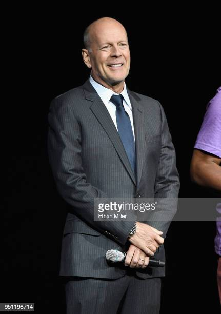 Actor Bruce Willis speaks onstage during CinemaCon 2018 Universal Pictures Invites You to a Special Presentation Featuring Footage from its Upcoming...