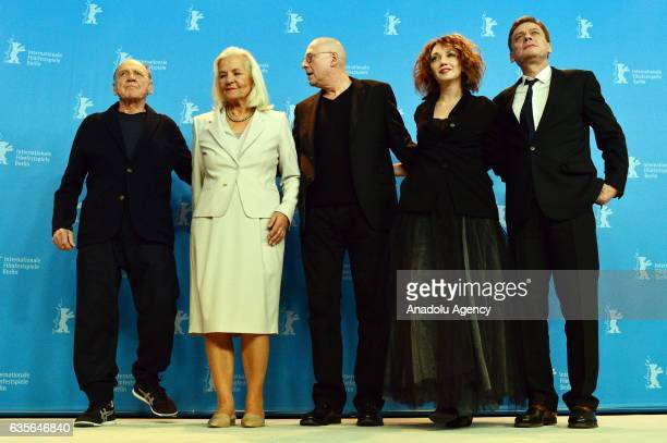 Actor Bruno Ganz actress Hildegard Schmahl director Matti Geschonneck actress Evgenia Dodina and actor Sylvester Groth attend the photocall of In...