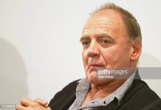 Actor Bruno Ganz speaks to reporters at the press conference for the new German film Der Untergang at the Sony Center on August 23 2004 in Berlin...