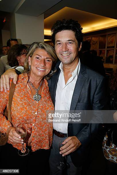 Actor Bruno Madinier and his Wife Camille Jean-Robert attend 'Les Voeux du Coeur' Premiere at Theatre La Bruyere on August 26, 2015 in Paris, France.