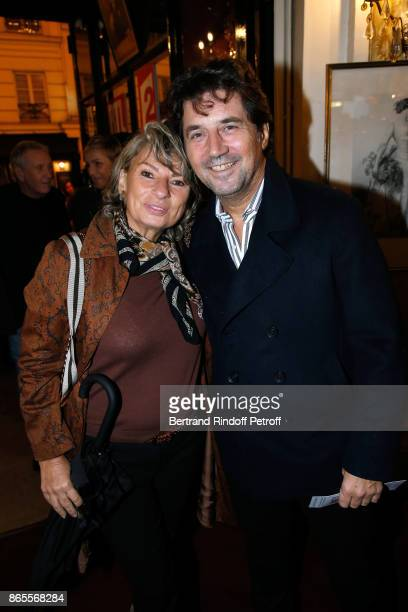 """Actor Bruno Madinier and his wife Camille Jean-Robert attend the """"Ramses II"""" Theater Play at Theatre des Bouffes Parisiens on October 23, 2017 in..."""