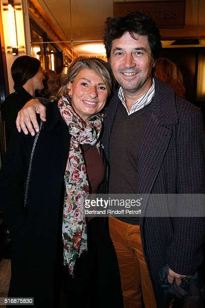 """Actor Bruno Madinier and his Wife Camille Jean-Robert attend the """"L'Etre ou pas"""" : Theater play at Theatre Antoine on March 21, 2016 in Paris, France."""