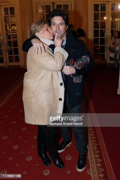 """Actor Bruno Madinier and his wife Camille Jean-Robert attend the Michele Bernier One Woman Show """"Vive Demain !"""" at Theatre des Varietes on January..."""