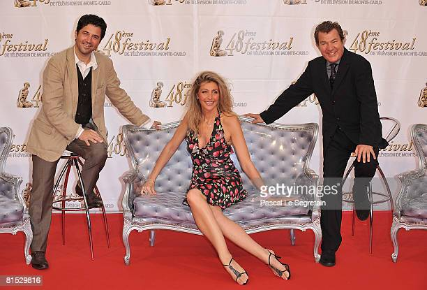 Actor Bruno Madinier with actor Martin Lamotte and his wife Karine Belly attends the TF1 party on the fourth day of the 2008 Monte Carlo Television...
