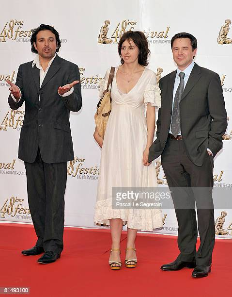 Actor Bruno Salomone actress Valerie Bonneton and actor Guillaume De Tonquedec attend the opening night of the 2008 Monte Carlo Television Festival...