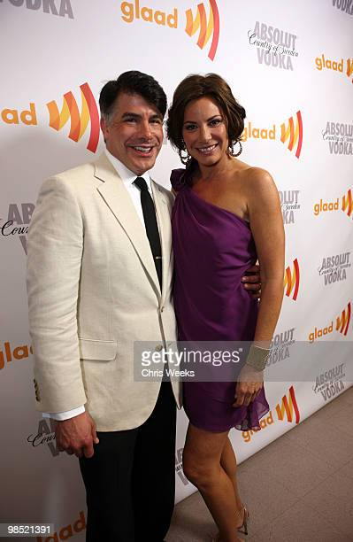 Actor Bryan Batt and TV personality Countess LuAnn de Lesseps pose backstage at the 21st Annual GLAAD Media Awards held at Hyatt Regency Century...