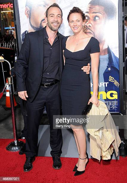 Actor Bryan Callen and wife actress Amanda Humphrey arrive at the Los Angeles premiere of 'Ride Along' on January 13 2014 at TCL Chinese Theatre in...