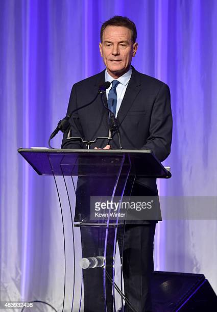 Actor Bryan Cranston accepts grant on behalf of LACC onstage during HFPA Annual Grants Banquet at the Beverly Wilshire Four Seasons Hotel on August...