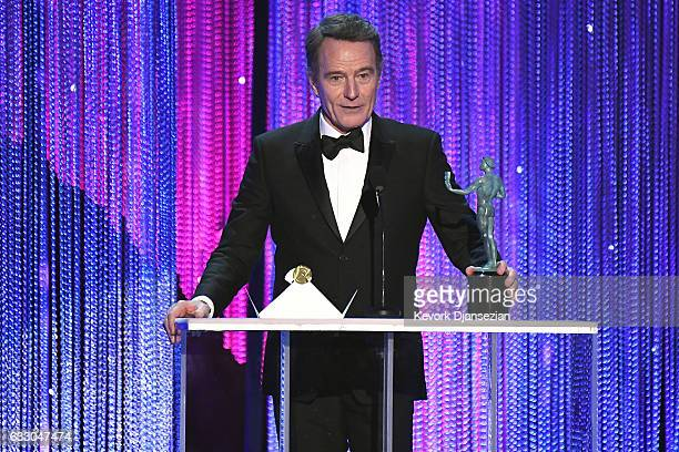 Actor Bryan Cranston accepts the award for Best Male Actor in a Television Movie or Limited Series for 'All the Way,' onstage during the 23rd Annual...