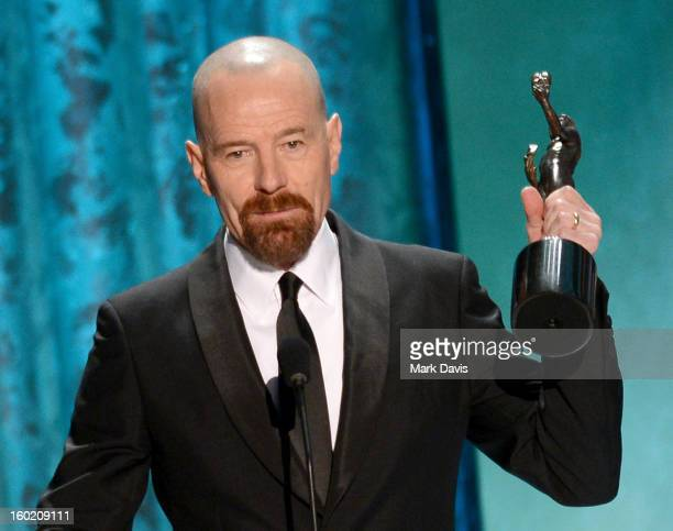 Actor Bryan Cranston accepts the award for Outstanding Performance by a Male Actor in a Drama Series for 'Breaking Bad' onstage during the 19th...