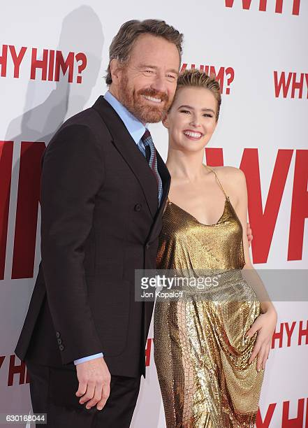 Actor Bryan Cranston and actress Zoey Deutch arrive at the Los Angeles Premiere Why Him at Regency Bruin Theater on December 17 2016 in Westwood...
