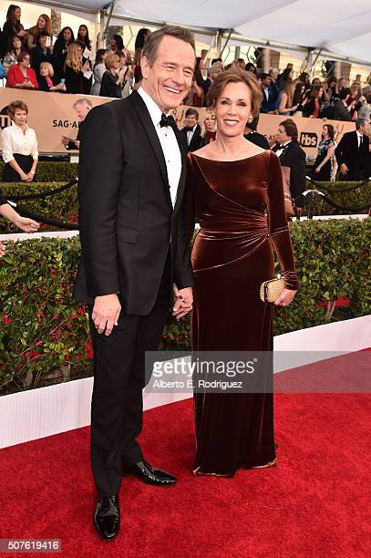 Actor Bryan Cranston and Robin Dearden attend the 22nd Annual Screen Actors Guild Awards at The Shrine Auditorium on January 30 2016 in Los Angeles...