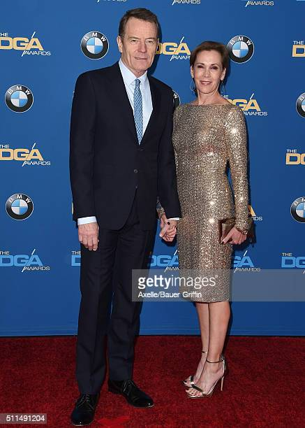 Actor Bryan Cranston and wife Robin Dearden arrive at the 68th Annual Directors Guild of America Awards at the Hyatt Regency Century Plaza on...