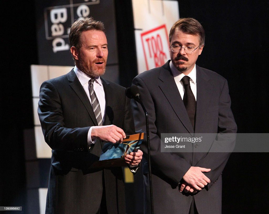 Actor Bryan Cranston (L) and writer Vince Gilligan speak during the 2012 Writers Guild Awards at the Hollywood Palladium on February 19, 2012 in Los Angeles, California.