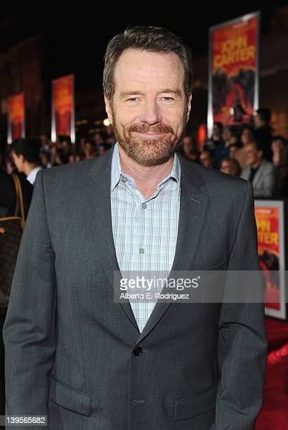 """Actor Bryan Cranston arrives at the Walt Disney Presents """"John Carter"""" premiere held at Regal Cinemas L.A. Live on February 22, 2012 in Los Angeles,..."""