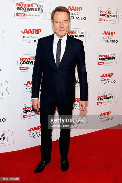 Actor Bryan Cranston attends AARP's Movie For GrownUps Awards at the Beverly Wilshire Four Seasons Hotel on February 8 2016 in Beverly Hills...