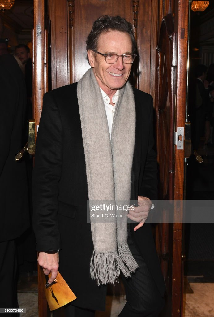 Actor Bryan Cranston attends the opening night of 'Hamilton' at Victoria Palace Theatre on December 21, 2017 in London, England.