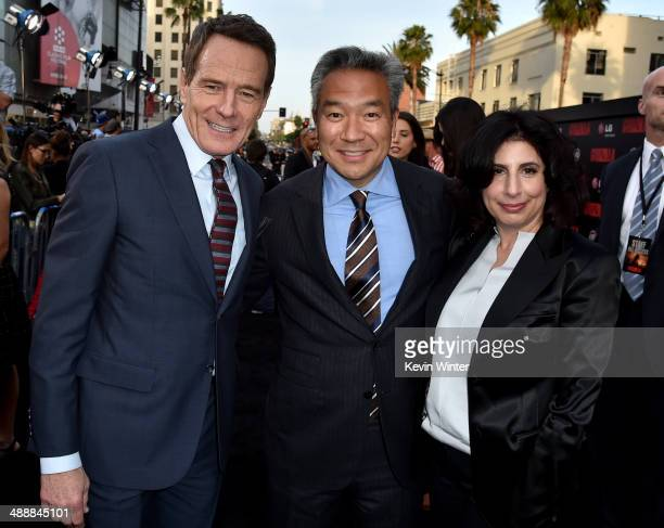 Actor Bryan Cranston CEO of Warner Bros Entertainment Kevin Tsujihara and Sue Kroll President Worldwide Marketing and International Distribution...