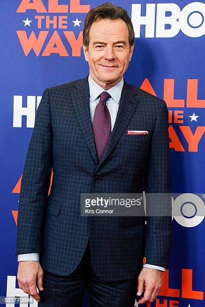 Actor Bryan Cranston poses for photographers during HBO's 'All The Way' Washington DC Screening at The National Archives on May 16 2016 in Washington...