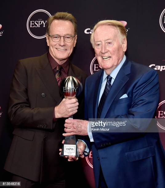 Actor Bryan Cranston poses with sportscaster Vin Scully recipient of the Icon Award at The 2017 ESPYS at Microsoft Theater on July 12 2017 in Los...