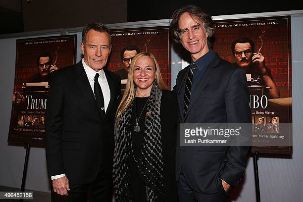 Actor Bryan Cranston producer Monica Levinson and director Jay Roach attend the Trumbo Washington DC premiere at The Newseum on November 9 2015 in...